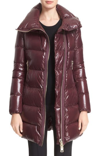 Women's Moncler 'Joinville' Water Resistant High Collar Down Puffer Coat, Size 1 - Burgundy