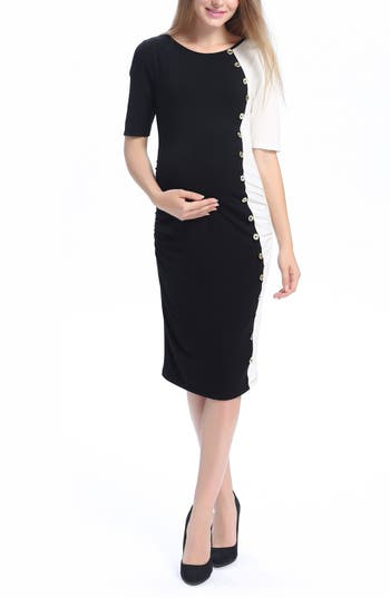 Vintage Style Maternity Clothes Womens Kimi And Kai Daphne Colorblock Maternity Dress Size Large - Black $88.00 AT vintagedancer.com
