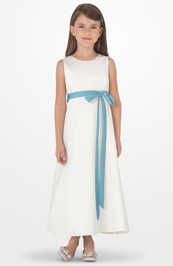 Girl's Us Angels Sleeveless Satin Dress, Size 7 - Blue