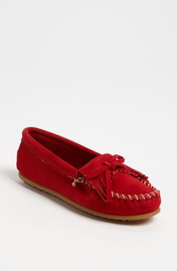 Women's Minnetonka 'Kilty' Suede Moccasin, Size 5.5 M - Red