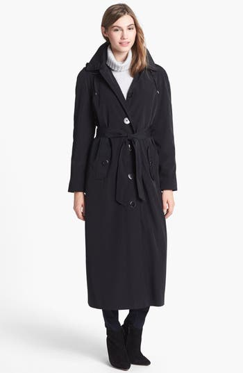 1920s Style Coats Petite Womens London Fog Long Trench Coat With Detachable Hood  Liner Size 10P - Black $169.90 AT vintagedancer.com