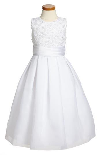 Girl's Joan Calabrese For Mon Cheri Sleeveless First Communion Dress