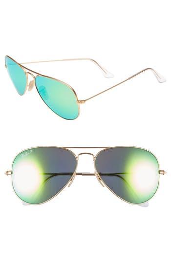 Women's Ray-Ban Standard Icons 58Mm Mirrored Polarized Aviator Sunglasses - Gold/ Green Mirror