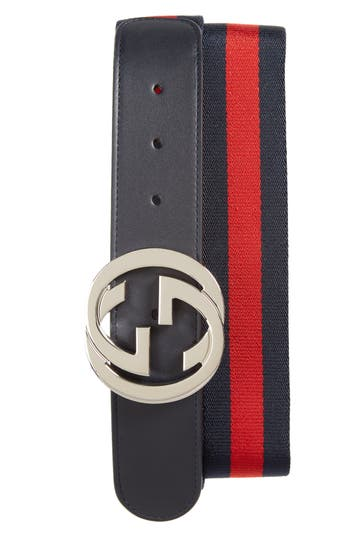 Men's Gucci Logo Buckle Interlock Belt, Size 100 EU - Brown/ Blue