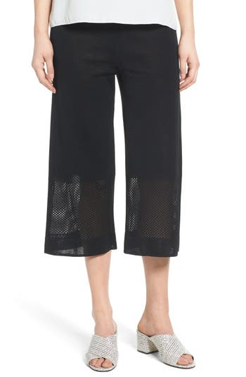 Women's Ming Wang Mesh Inset Crop Pants