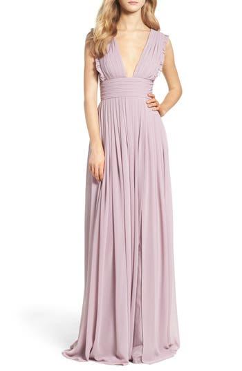Women's Monique Lhuillier Bridesmaids Deep V-Neck Ruffle Pleat Chiffon Gown, Size 4 - Purple