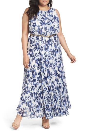 Plus Size Women's Eliza J Belted Floral Maxi Dress
