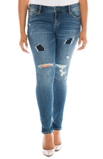 Plus Size Women's Slink Jeans Ripped Skinny Jeans, Size 12W - Blue