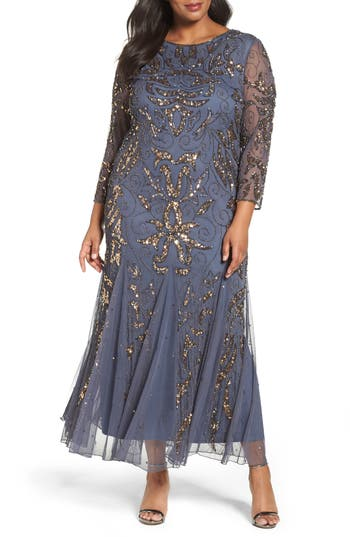 Plus Size Vintage Dresses, Plus Size Retro Dresses Plus Size Womens Pisarro Nights Embellished Three Quarter Sleeve Gown Size 24W - Grey $218.00 AT vintagedancer.com