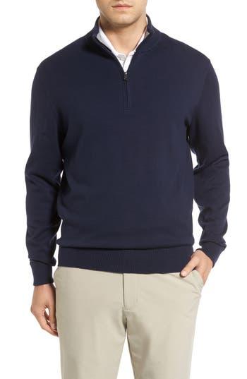 Big & Tall Cutter & Buck Lakemont Half Zip Sweater, Blue
