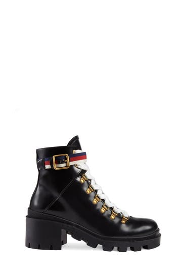 Gucci Trip Lug Sole Combat Boot - Black