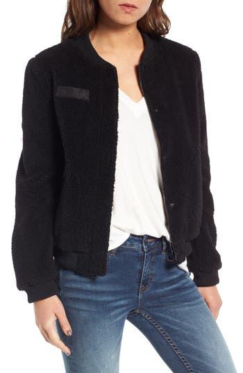 Women's Levi'S Faux Shearling Bomber Jacket, Size Large - Black