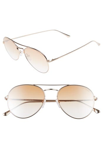Women's Tom Ford Ace 55Mm Stainless Steel Aviator Sunglasses - Shiny Rose Gold/ Brown Mirror