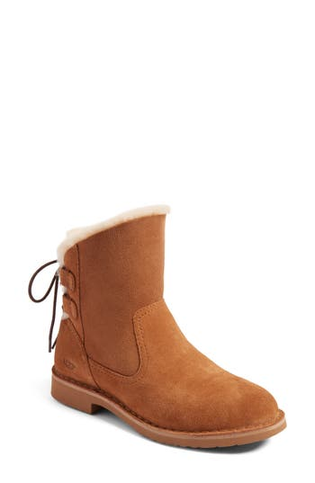 Ugg Naiyah Lace-Back Genuine Shearling Boot, Metallic