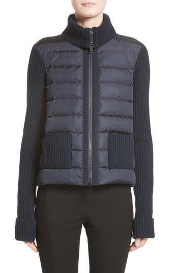Moncler Ciclista Quilted Down Front Sweater Jacket, Blue