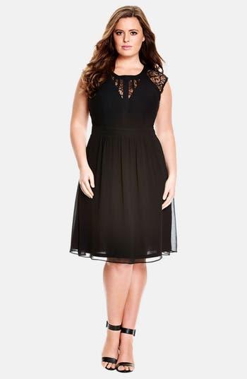 Plus Size Women's City Chic Dark Romance Lace Detail Dress