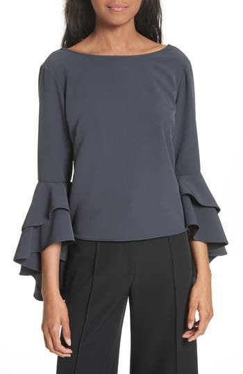 Women's Milly Annie Cascade Sleeve Stretch Cady Top, Size 2 - Grey