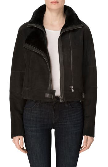 J Brand Camilla Suede Moto Jacket With Genuine Shearling, Black