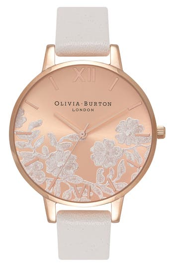 Women's Olivia Burton Lace Detail Leather Strap Watch, 38Mm