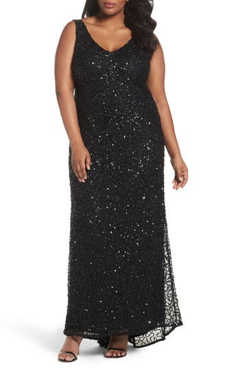 Plus Size Vintage Dresses, Plus Size Retro Dresses Adrianna Papell Sequin A-Line Gown Size 22W - Black $319.00 AT vintagedancer.com
