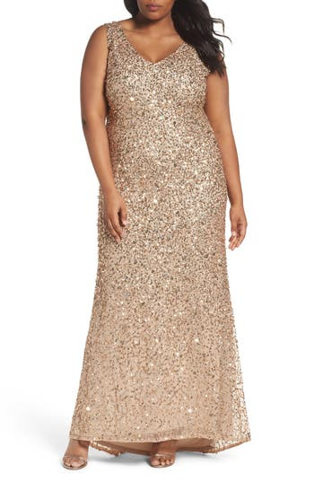 Plus Size Vintage Dresses, Plus Size Retro Dresses Adrianna Papell Sequin A-Line Gown Size 20W - Brown $319.00 AT vintagedancer.com