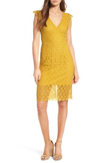 Women's J.o.a. Lace Sheath Dress, Size X-Small - Yellow