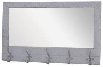Crystal Art Gallery Metal Wall Mirror With Hooks, Size One Size - Metallic