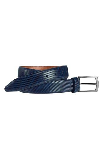 Johnston & Murphy Diagonal Embossed Leather Belt