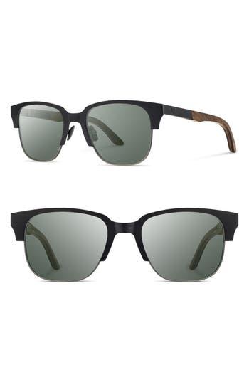 Shwood Newport Titan 52Mm Sunglasses - Black Titanium/ Walnut/ G15