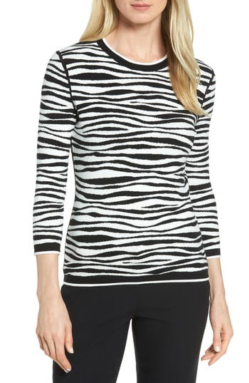 Women's Boss Fatima Zebra Stripe Sweater, Size X-Small - Black