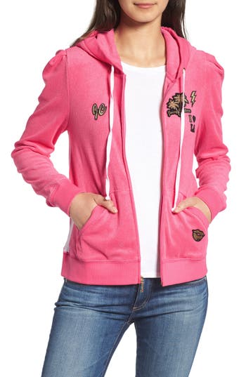 Women's Juicy Couture Venice Beach Microterry Hoodie, Size X-Small - Pink