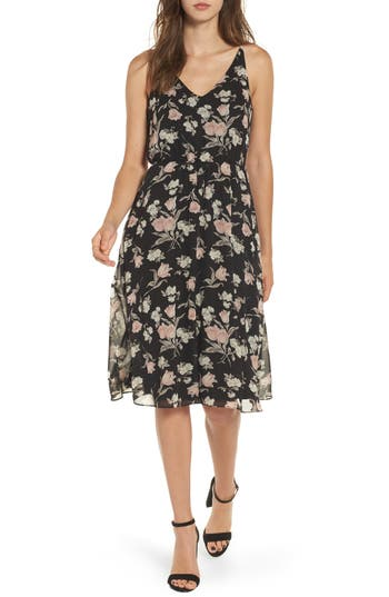 Women's Soprano Floral Blouson Midi Dress, Size X-Small - Black