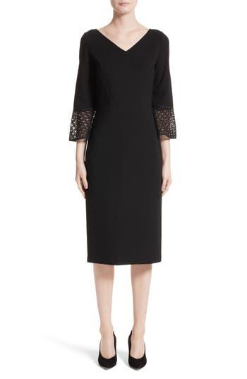 Women's Lafayette 148 New York Lace Trim Sheath Dress, Size 4 - Black