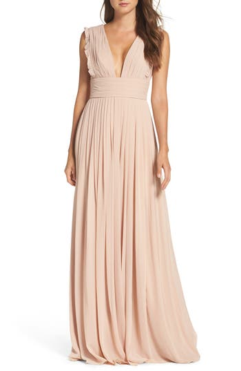 Women's Monique Lhuillier Bridesmaids Deep V-Neck Ruffle Pleat Chiffon Gown
