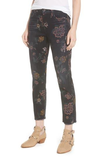 7 For All Mankind Roxanne Floral Print Ankle Slim Jeans, Black