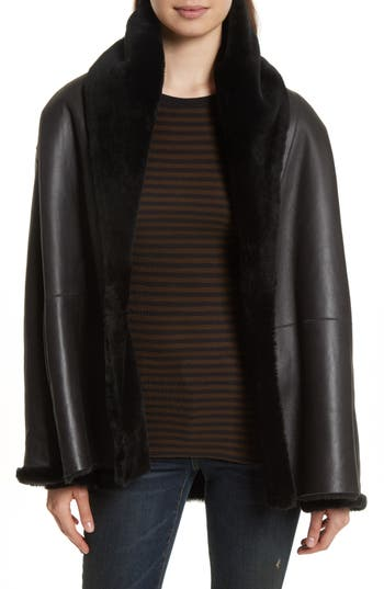 Vince Shawl Collar Genuine Shearling Reversible Coat