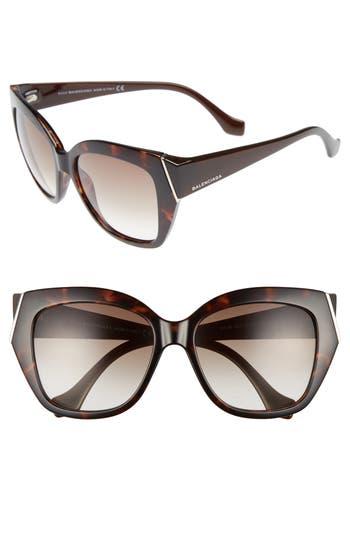 Balenciaga 57Mm Cat Eye Sunglasses - Dark Havana/ Gradient Green