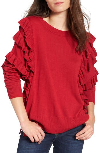 Women's Bp. Ruffle Pullover, Size XX-Small - Red
