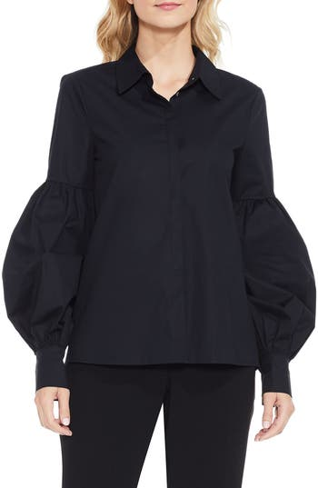 Victorian Blouses, Tops, Shirts, Vests Womens Vince Camuto Puff Sleeve Shirt Size X-Large - Black $89.00 AT vintagedancer.com
