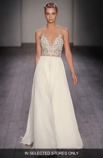 Women's Hayley Paige Teresa T-Strap Back Embellished Chiffon A-Line Gown