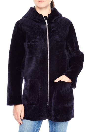 Sandro Zip Front Genuine Shearling Jacket, Blue