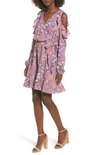 Women's Soprano Cold Shoulder Faux Wrap Dress, Size X-Small - Purple
