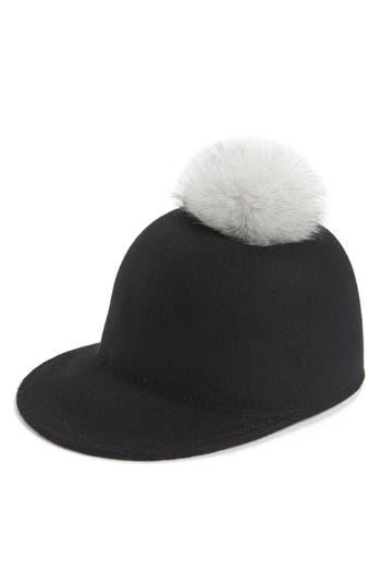 Women's Halogen Faux Fur Pom Jockey Cap -