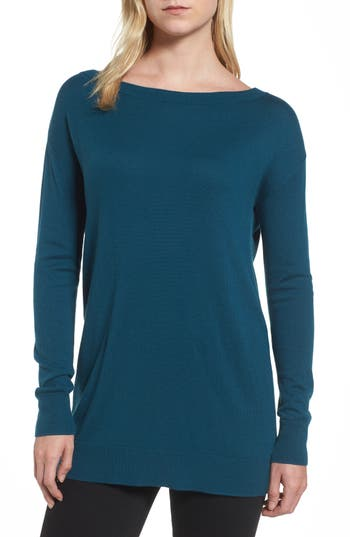 Women's Halogen Boatneck Tunic Sweater, Size X-Small - Blue/green