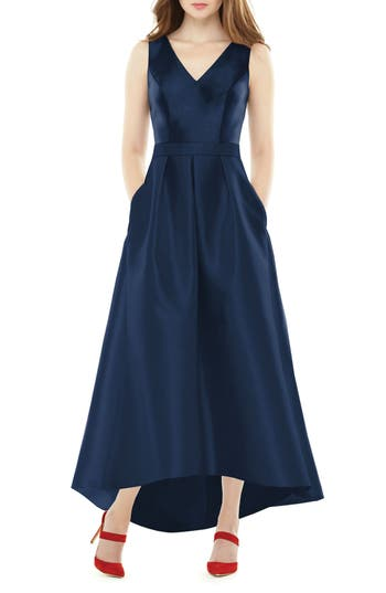 Alfred Sung High/low Sateen Twill Gown, Blue