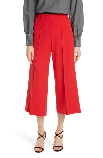 Women's Milly Hayden Italian Cady Crop Pants, Size 4 - Red