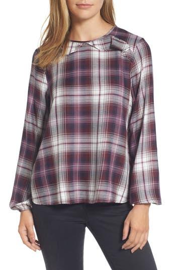 Women's Bobeau Plaid Ruffle Top, Size X-Small - Purple