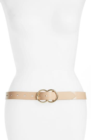 Halogen Double Ring Leather Belt, Clay Beige