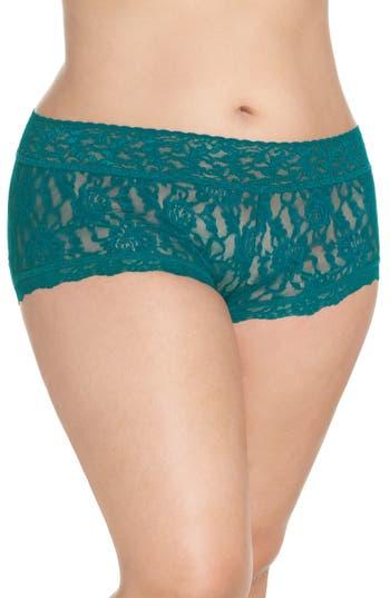 Plus Size Women's Hanky Panky Stretch Lace Boyshorts, Size 1X - Green