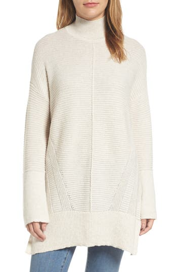 Women's Caslon Ribbed Turtleneck Tunic Sweater, Size X-Small - Beige